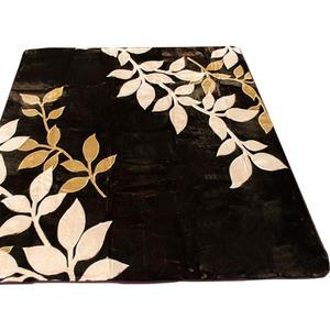 ラグ 185×185 正方形 ブラウン ラグマット ホットカーペットカバー フランネル リーフ