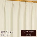 8色から選べる遮光カーテン 2枚組 100×188 アイボリー 無地 シンプル 洗える 形状記憶 タッセル付き ステイシー