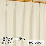 8色から選べる遮光カーテン 2枚組 100×200 アイボリー 無地 シンプル 洗える 形状記憶 タッセル付き ステイシー