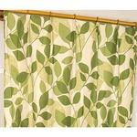 8種類から選べる遮光カーテン 2枚組 100×135 グリーン リーフ柄 洗える 形状記憶 タッセル付き レックス