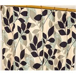 8種類から選べる遮光カーテン 2枚組 100×178 ブラック リーフ柄 洗える 形状記憶 タッセル付き レックス