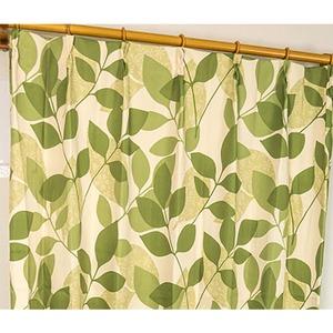 8種類から選べる遮光カーテン 2枚組 100×215 グリーン リーフ柄 洗える 形状記憶 タッセル付き レックス