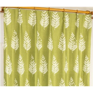 8種類から選べる遮光カーテン 2枚組 100×200 グリーン 木立柄 洗える 形状記憶 タッセル付き ルノー
