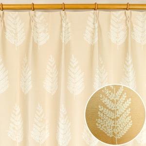 8種類から選べる遮光カーテン 1枚のみ 150×215 ベージュ 木立柄 洗える 形状記憶 タッセル付き ルノー