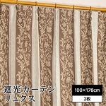 遮光カーテン 2枚組 100×178 ブラウン 花柄 洗える 3級遮光 形状記憶 タッセル付き リュクス