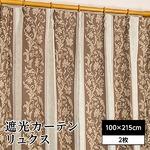 遮光カーテン 2枚組 100×215 ブラウン 花柄 洗える 3級遮光 形状記憶 タッセル付き リュクス