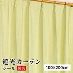 防炎 遮光カーテン 2枚組 100×200 グリーン 無地 シンプル 洗える 形状記憶 タッセル付き ジール
