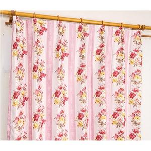 5種類から選べる遮光カーテン 2枚組 100×110 ピンク ローズ柄 花柄 洗える 形状記憶 タッセル付き ストライプフラワー