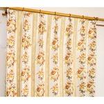 5種類から選べる遮光カーテン 2枚組 100×110 イエロー ローズ柄 花柄 洗える 形状記憶 タッセル付き ストライプフラワー