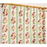 5種類から選べる遮光カーテン 2枚組 100×110 グリーン ローズ柄 花柄 洗える 形状記憶 タッセル付き ストライプフラワー