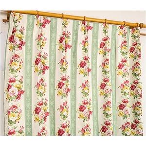 5種類から選べる遮光カーテン 2枚組 100×135 グリーン ローズ柄 花柄 洗える 形状記憶 タッセル付き ストライプフラワー