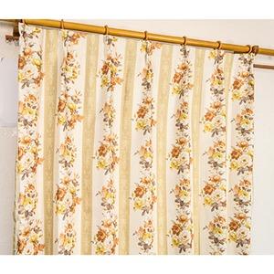 5種類から選べる遮光カーテン 2枚組 100×190 イエロー ローズ柄 花柄 洗える 形状記憶 タッセル付き ストライプフラワー