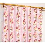 5種類から選べる遮光カーテン 2枚組 100×200 ピンク ローズ柄 花柄 洗える 形状記憶 タッセル付き ストライプフラワー