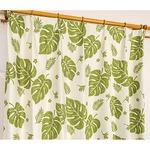 5種類から選べる遮光カーテン 2枚組 100×178 グリーン モンステラ柄 リーフ柄 洗える 形状記憶 タッセル付き 遮光モンステラ