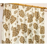 5種類から選べる遮光カーテン 2枚組 100×178 ブラウン モンステラ柄 リーフ柄 洗える 形状記憶 タッセル付き 遮光モンステラ