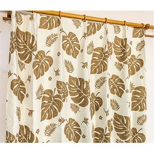 5種類から選べる遮光カーテン 2枚組 100×190 ブラウン モンステラ柄 リーフ柄 洗える 形状記憶 タッセル付き 遮光モンステラ