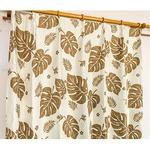 5種類から選べる遮光カーテン 2枚組 100×200 ブラウン モンステラ柄 リーフ柄 洗える 形状記憶 タッセル付き 遮光モンステラ