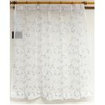刺繍レースカーテン 2枚組 100×133 ホワイト 刺繍 花柄 洗える アジャスターフック付き タッセル付き ホッパー