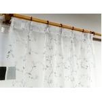刺繍レースカーテン 2枚組 100×176 ホワイト 刺繍 花柄 洗える アジャスターフック付き タッセル付き ホッパー