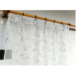 刺繍レースカーテン 2枚組 100×223 ホワイト 刺繍 花柄 洗える アジャスターフック付き タッセル付き ホッパー