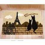 猫柄 玄関マット/フロアマット 【45cm×70cm ベージュ】 長方形 アクリル100% 『パリス』 〔入口 廊下〕