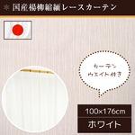国産レースカーテン 2枚組 100×176 楊柳縮緬 ウエイト入り 洗える アジャスターフック付き 日本製 フランシス