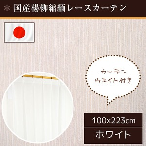 国産レースカーテン 2枚組 100×223 楊柳縮緬 ウエイト入り 洗える アジャスターフック付き 日本製 フランシス