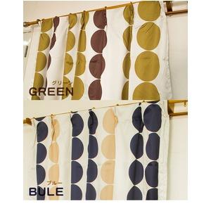 遮光カーテン 2枚組 100×135 グリーン 水玉柄 北欧風 洗える アジャスターフック付き タッセル付き ルナリス