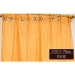 カラーレースカーテン 2枚組 100×176 オレンジ ミラーレース 見えにくい 洗える アジャスターフック付き セルバ2