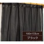 カラーレースカーテン 2枚組 100×133 ブラック ミラーレース 見えにくい 洗える アジャスターフック付き セルバ2