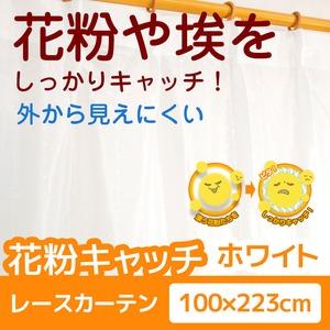 花粉キャッチレースカーテン 2枚組 100×223 ホワイト 防汚 ミラーレースカーテン  洗える アジャスターフック付き アスル
