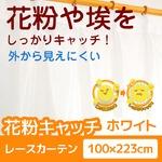 花粉キャッチ レースカーテン 2枚組 【100cm×223cm ホワイト】 防汚加工 洗える アジャスターフック付き 『アスル』の画像