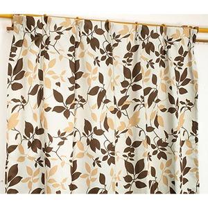 遮光カーテン 2枚組 100×178 ベージュ リーフ柄 タッセル付き アジャスターフック付き シトラス