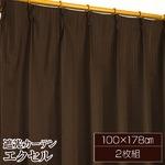 遮光カーテン 2枚組 100×178 ブラウン 無地 タッセル付き アジャスターフック付き エクセル