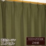 遮光カーテン 2枚組 100×200 ダークグリーン 無地 タッセル付き アジャスターフック付き エクセルの画像