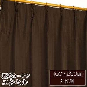 遮光カーテン/サンシェード 2枚組 【100cm×200cm ブラウン】 無地 タッセル付き アジャスターフック付き 『エクセル』