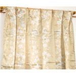 遮光カーテン 2枚組 100×178 ベージュ 花柄 タッセル付き アジャスターフック付き エマリー