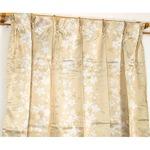 遮光カーテン 2枚組 100×200 ベージュ 花柄 タッセル付き アジャスターフック付き エマリー