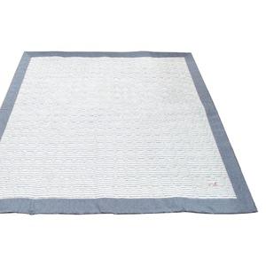 ラグマット/絨毯 【190cm×240cm ブルー】 長方形 綿100% キルティング 洗える 『マリンボーダー』 〔リビング ダイニング〕