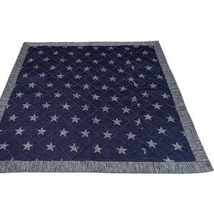 ラグマット/絨毯 【185cm×185cm ネイビー】 正方形 接触冷感 キルティング 洗える 『冷感スター』 〔リビング〕