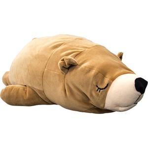 もちもちクッション/くま抱き枕 【32cm×68cm ブラウン】 シリコン綿 洗える 『クマダキマクラ』 〔リビング〕