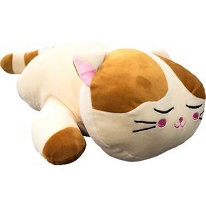 もちもちクッション/ねこ抱き枕 【30cm×58cm ホワイト】 シリコン綿 洗える 『ネコダキマクラ』 〔リビング〕