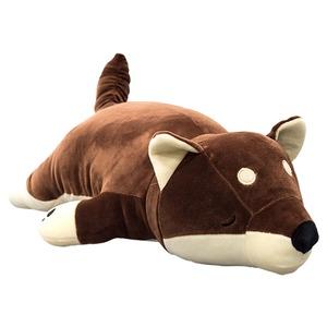 もちもちクッション 豆柴抱き枕 32×58 ブラウン シリコン綿 クッション 抱き枕 マメシバダキマクラ  - 拡大画像