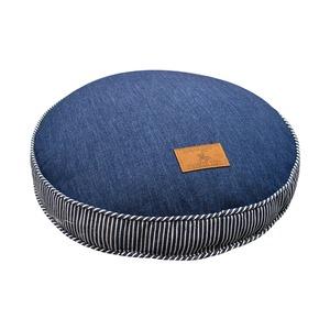 フロアクッション/ソファークッション 【ネイビー】 直径40cm 円形 綿100% デニム地 シリコン綿 『ジーンズ』