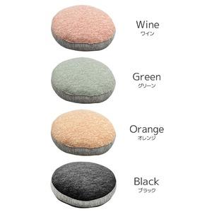 フロアクッション ソファークッション / 直径40cm ワイン / 接触冷感 頑丈シリコン綿使用 〔リビング 寝室〕 『グラシエ』