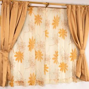バッグ付き 4枚組遮光カーテン 100×178 オレンジ ボタニカル柄 リーフ柄 タッセル付き 洗える プラム