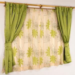 バッグ付き 4枚組遮光カーテン 100×200 グリーン ボタニカル柄 リーフ柄 タッセル付き 洗える プラム