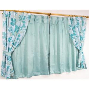 バッグ付き 4枚組遮光カーテン 100×135 ブルー 花柄 南国風 タッセル付き 洗える パスピエ