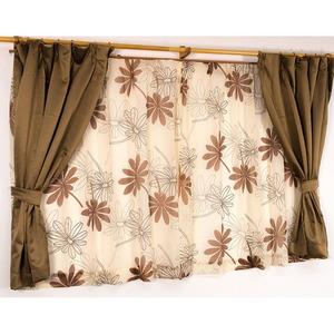遮光カーテン&レースカーテン 4枚組 4枚セット / 100cm×178cm ブラウン / 南国 花柄 洗える バッグ 『パスピエ』