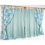 遮光カーテン&レースカーテン 4枚組 【100cm×200cm ブルー】 南国風 花柄 洗える バッグ タッセル付き 『パスピエ』の画像